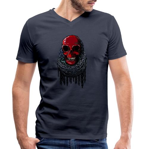RED Skull in Chains - Men's Organic V-Neck T-Shirt by Stanley & Stella