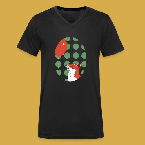 Fuchs und Luftballon - Männer Bio-T-Shirt mit V-Ausschnitt von Stanley & Stella