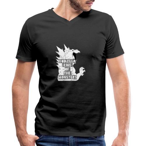 Godzilla - Ekologiczna koszulka męska z dekoltem w serek Stanley & Stella