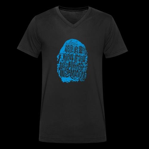 DNA, odcisków palców (niebieski) - Ekologiczna koszulka męska z dekoltem w serek Stanley & Stella