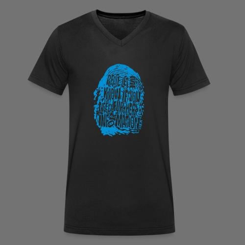 Fingerprint DNA (blå) - Økologisk Stanley & Stella T-shirt med V-udskæring til herrer