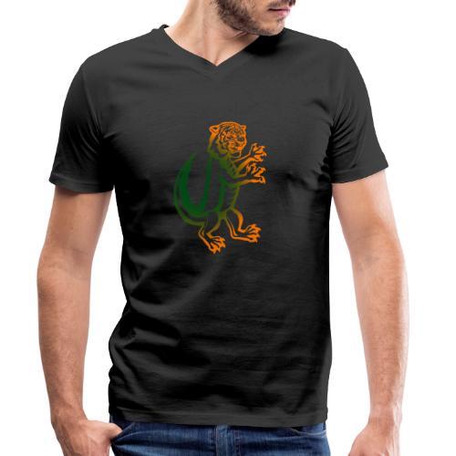 DerTiKro nur Tieger - Männer Bio-T-Shirt mit V-Ausschnitt von Stanley & Stella