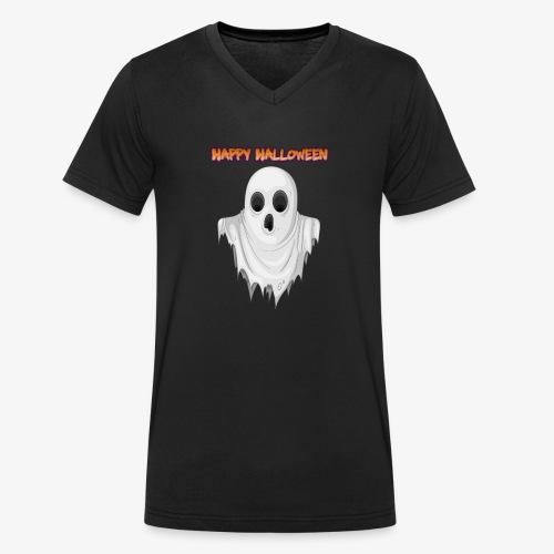 HAPPY HALLOWEEN GHOST DESIGN - Men's Organic V-Neck T-Shirt by Stanley & Stella