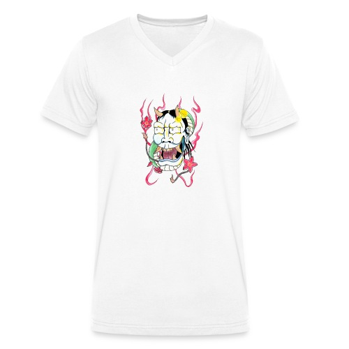 hannya mask - Men's Organic V-Neck T-Shirt by Stanley & Stella