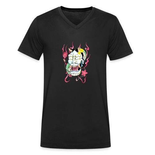 hannya mask - Men's Organic V-Neck T-Shirt by Stanley & Stella