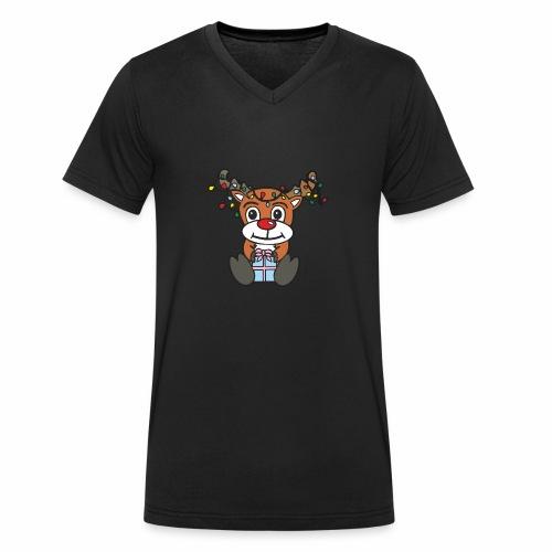Rentier mit Lichterkette - Männer Bio-T-Shirt mit V-Ausschnitt von Stanley & Stella