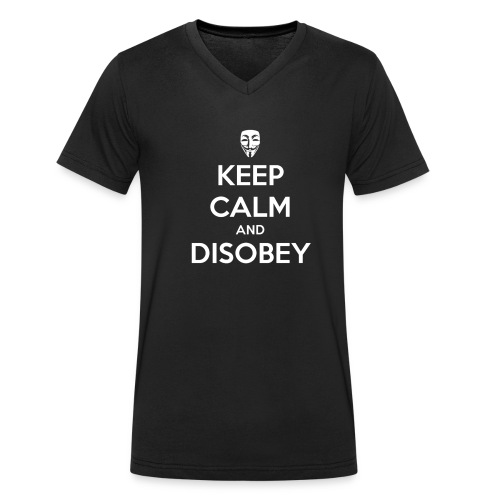 keep calm and disobey bla - Stanley & Stellan miesten luomupikeepaita