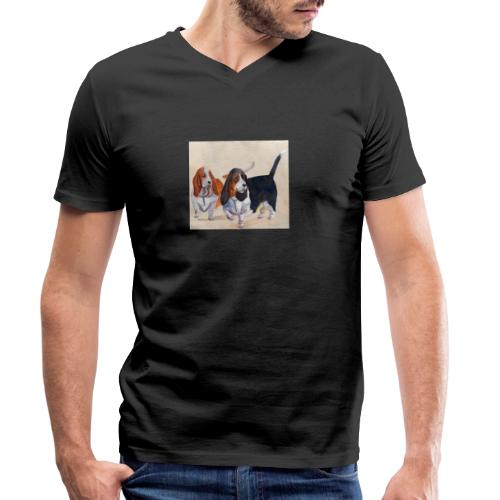Basset hound_double-trot - Økologisk Stanley & Stella T-shirt med V-udskæring til herrer