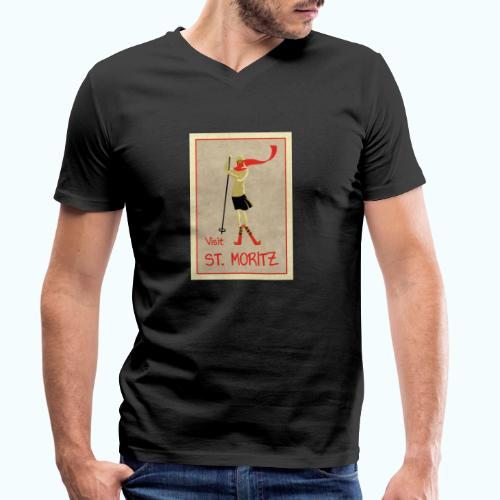 Vintage Retro Reise Plakat St Moritz - Men's Organic V-Neck T-Shirt by Stanley & Stella