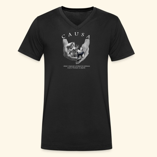 Association CAUSA texte blanc - T-shirt bio col V Stanley & Stella Homme