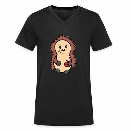 Igel mit Apfel in der Hand - Männer Bio-T-Shirt mit V-Ausschnitt von Stanley & Stella
