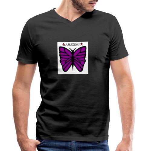 Motiv fjäril, Butterfly amazing - Ekologisk T-shirt med V-ringning herr från Stanley & Stella