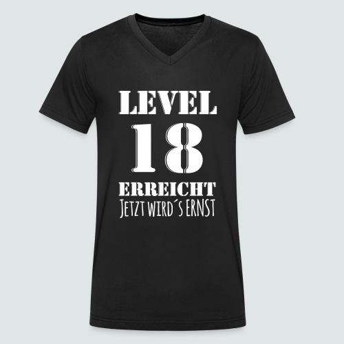 18er Geburtstag - LEVEL 18 ERREICHT - MOTIV - Männer Bio-T-Shirt mit V-Ausschnitt von Stanley & Stella