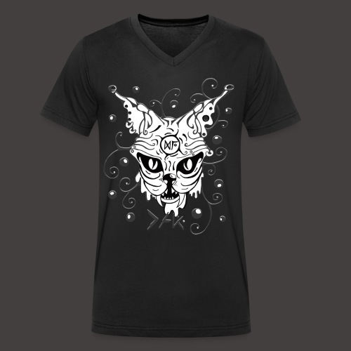 THE CAT fond noir - T-shirt bio col V Stanley & Stella Homme
