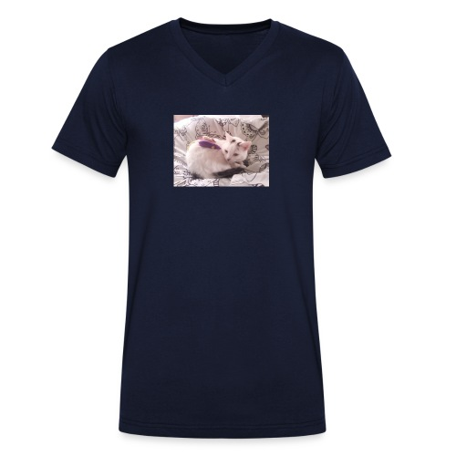 CAT SURROUNDED BY MICE AND BUTTERFLIES. - Men's Organic V-Neck T-Shirt by Stanley & Stella