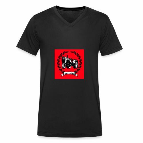 KonradSB czerwony - Ekologiczna koszulka męska z dekoltem w serek Stanley & Stella