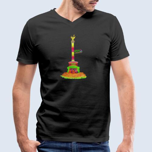 """Berliner Original """"Siegessäule"""" PopArt Design - Männer Bio-T-Shirt mit V-Ausschnitt von Stanley & Stella"""