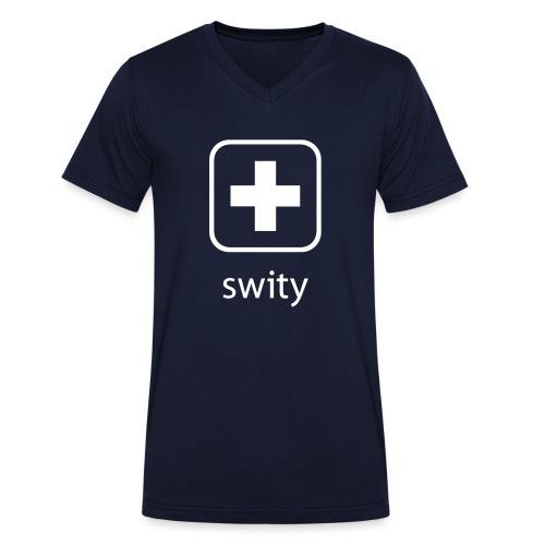 Schweizerkreuz-Kappe (swity) - Männer Bio-T-Shirt mit V-Ausschnitt von Stanley & Stella