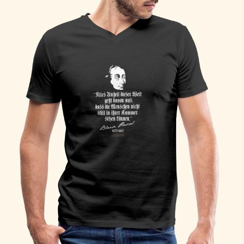 Zitat T Shirt Blaise Pascal - Männer Bio-T-Shirt mit V-Ausschnitt von Stanley & Stella