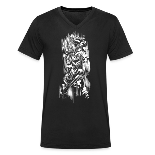 Samurai / White - Abstract Tatoo - Men's Organic V-Neck T-Shirt by Stanley & Stella