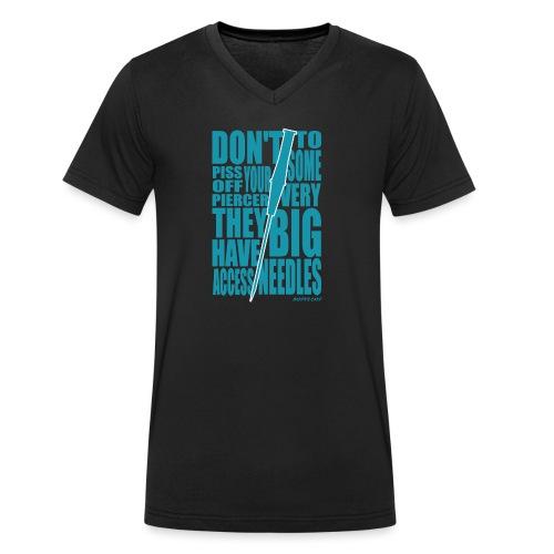 Needles Blue - Men's Organic V-Neck T-Shirt by Stanley & Stella