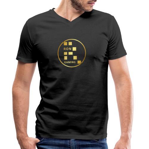 00407 RonGames dorado - Camiseta ecológica hombre con cuello de pico de Stanley & Stella