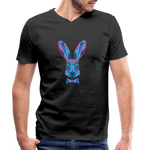 Hase Fliege Feldhase Langohr bunt Kaninchen Löffel - Männer Bio-T-Shirt mit V-Ausschnitt von Stanley & Stella
