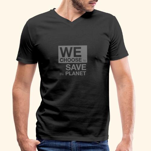 We Choose to Save the Planet grå - Økologisk T-skjorte med V-hals for menn fra Stanley & Stella