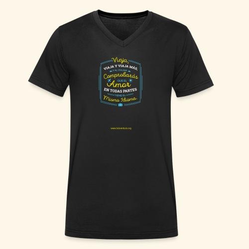 VIAJA - Camiseta ecológica hombre con cuello de pico de Stanley & Stella