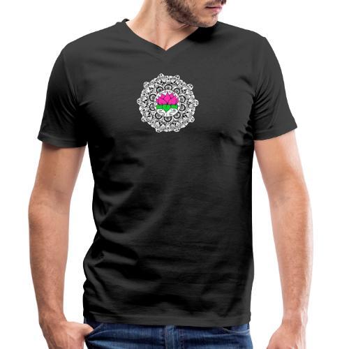 Lotus Flower Mandala - Men's Organic V-Neck T-Shirt by Stanley & Stella