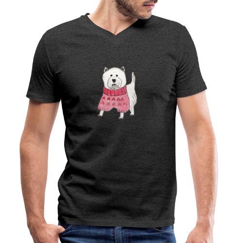 westie with sweater - Økologisk Stanley & Stella T-shirt med V-udskæring til herrer