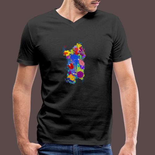 Sardegna Silhouette Paint - T-shirt ecologica da uomo con scollo a V di Stanley & Stella