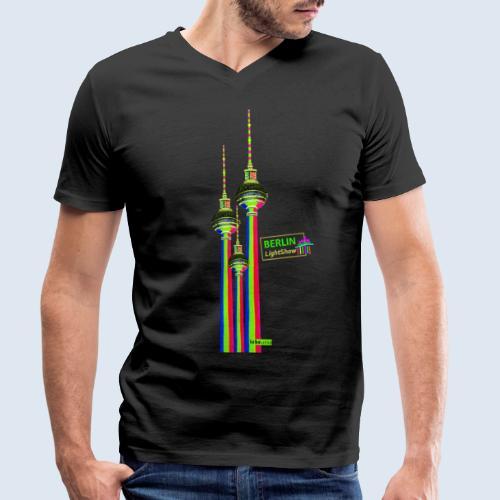 """Berliner Original """"Fernsehturm III"""" PopArt Design - Männer Bio-T-Shirt mit V-Ausschnitt von Stanley & Stella"""