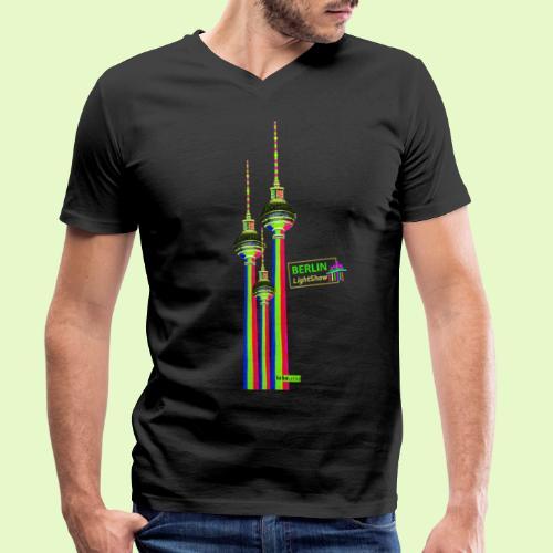 Fernsehturm / BerlinLightShow im Triple-Look - Männer Bio-T-Shirt mit V-Ausschnitt von Stanley & Stella