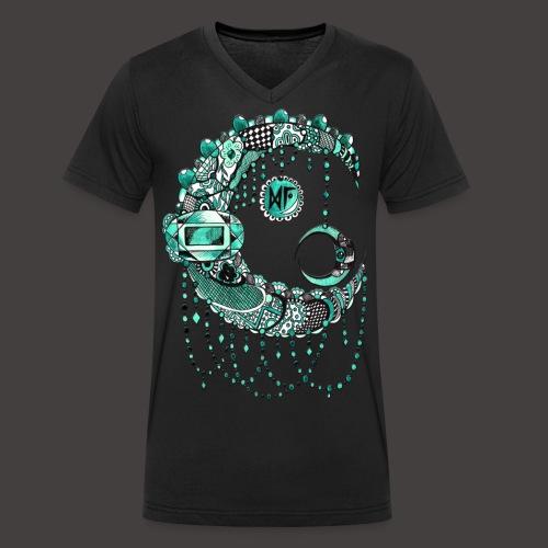 Lune dentelle Turquoise - T-shirt bio col V Stanley & Stella Homme