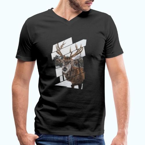 Hipster reindeer - Men's Organic V-Neck T-Shirt by Stanley & Stella
