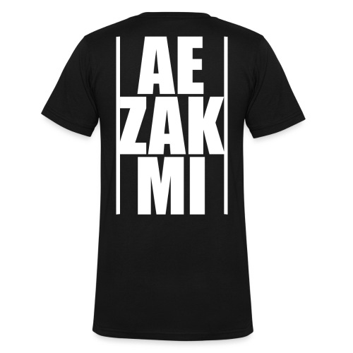 AEZAKMI-white, back - Ekologiczna koszulka męska z dekoltem w serek Stanley & Stella