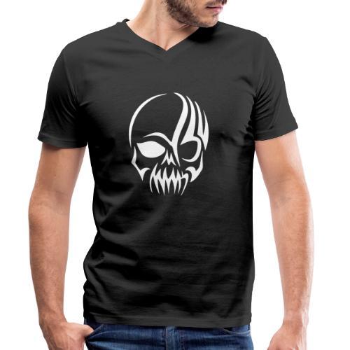 Tribal Skull white mit Logo - Männer Bio-T-Shirt mit V-Ausschnitt von Stanley & Stella