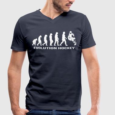 Evolución del hockey sobre hielo hockey - Camiseta ecológica hombre con cuello de pico de Stanley & Stella