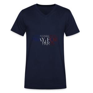 Pray for paris with France flag - Mannen bio T-shirt met V-hals van Stanley & Stella