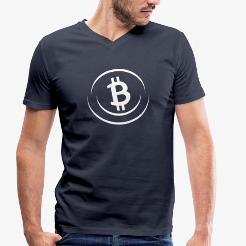 Bitcoin All White - Männer Bio-T-Shirt mit V-Ausschnitt von Stanley & Stella