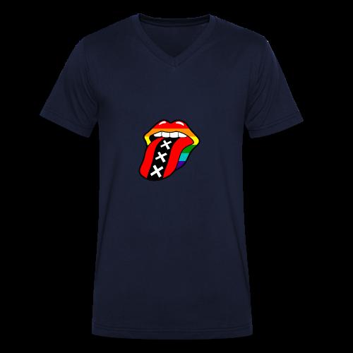 Gay pride rainbow mond met tong en Amsterdam logo - Mannen bio T-shirt met V-hals van Stanley & Stella
