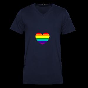 Hart in regenboog kleuren - Mannen bio T-shirt met V-hals van Stanley & Stella
