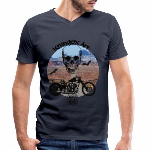 Skull Route - T-shirt ecologica da uomo con scollo a V di Stanley & Stella