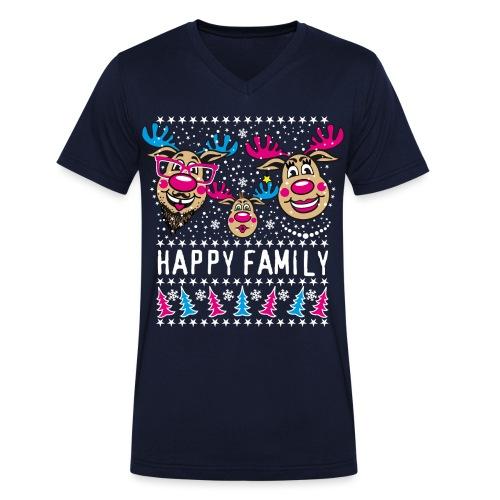 95 Rentier Rudolph HAPPY FAMILY Papa Mama Kind - Männer Bio-T-Shirt mit V-Ausschnitt von Stanley & Stella