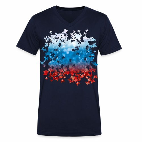 06 Russland Flagge Fahne Russia Schmetterlinge - Männer Bio-T-Shirt mit V-Ausschnitt von Stanley & Stella