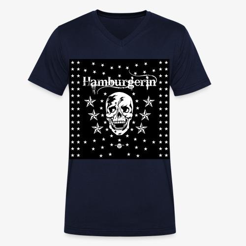 06 Hamburgerin Totenkopf Hamburg Sterne Mundschutz - Männer Bio-T-Shirt mit V-Ausschnitt von Stanley & Stella