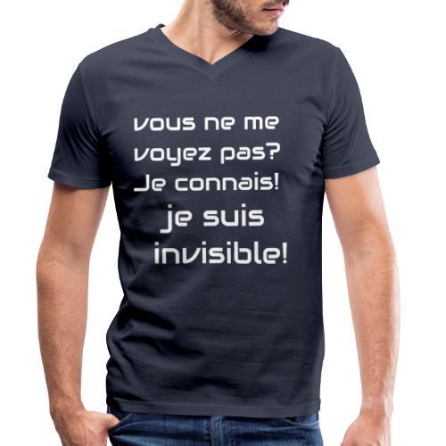 Invisibile #invisibile - T-shirt ecologica da uomo con scollo a V di Stanley & Stella