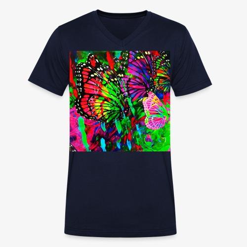 01 Bunte Schmetterlinge im Paradies Garten - Männer Bio-T-Shirt mit V-Ausschnitt von Stanley & Stella