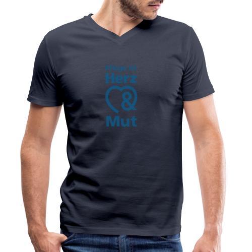 Pflege ist Herz & Mut (blau) - Männer Bio-T-Shirt mit V-Ausschnitt von Stanley & Stella